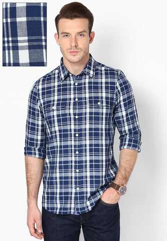 Carwash Blue White Checks Shirt