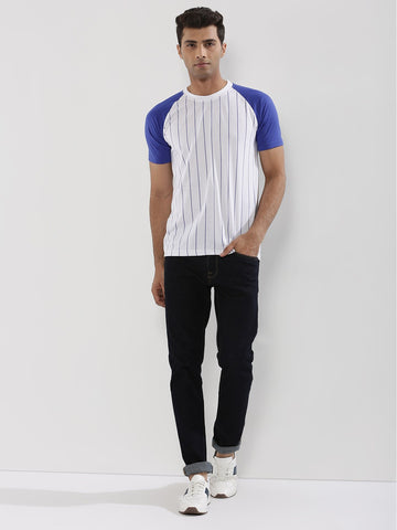 Striped Raglan With Contrast Sleeves - BLUE SLEEVE WITH WHITE BASE