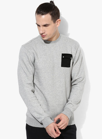 CONTRAST SNAP POCKET SWEATSHIRT