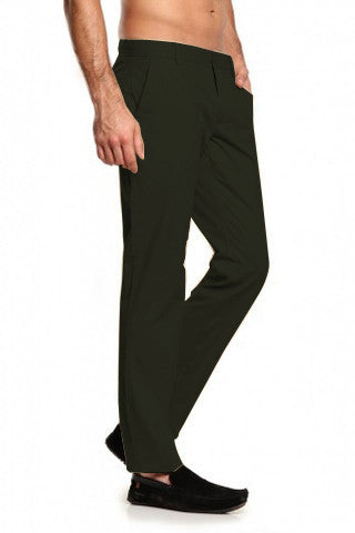 Dark Olive Green Trousers - Regular Fit