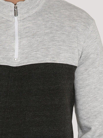 CONTRAST SWEATSHIRT B/W 1/4TH ZIP
