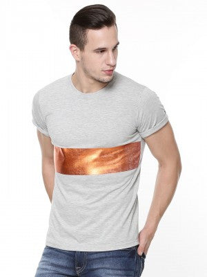 Grey Tshirt with Foil Panel