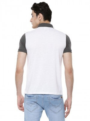 White Panel Polo Tshirt - Slim Fit