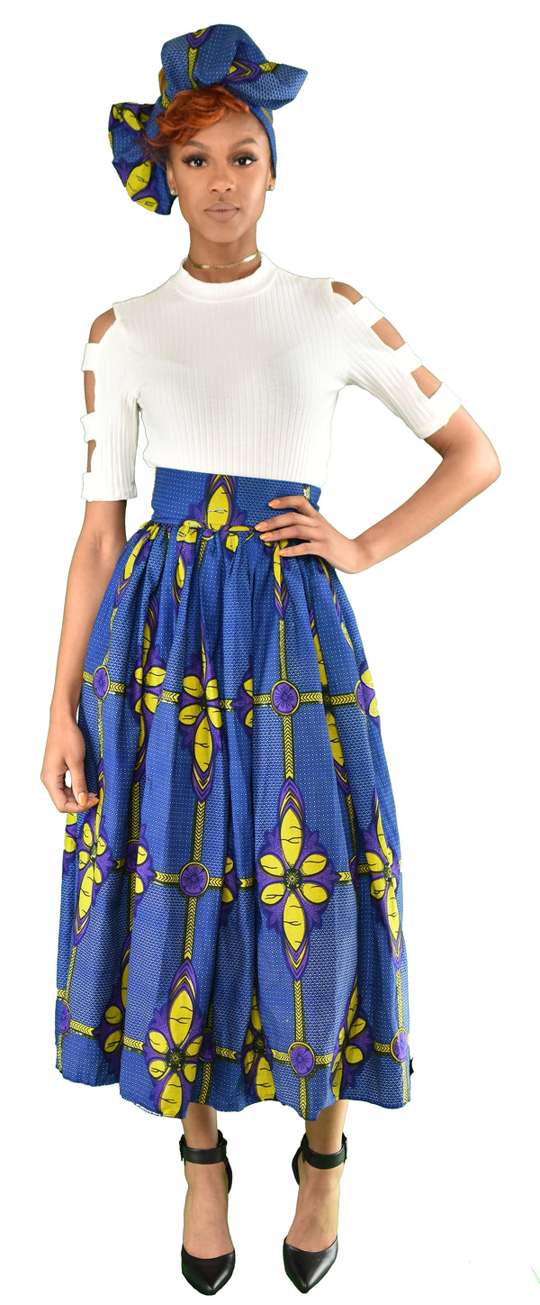 Blue Daisy Maxi Skirt