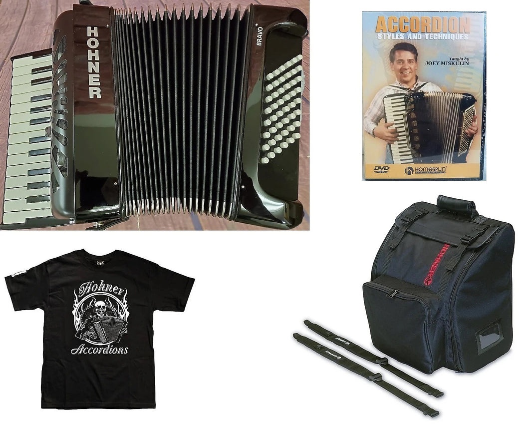 Used Hohner Bravo II 48 Bass Black Piano Accordion Acordeon +Gig Bag, Straps, Shirt, Instruction DVD