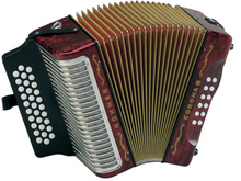 Load image into Gallery viewer, Hohner Corona III GCF/Sol Red/Rojo Accordion Acordeon +Bag/Strap/BackPad/Shirt/DVD Authorized Dealer