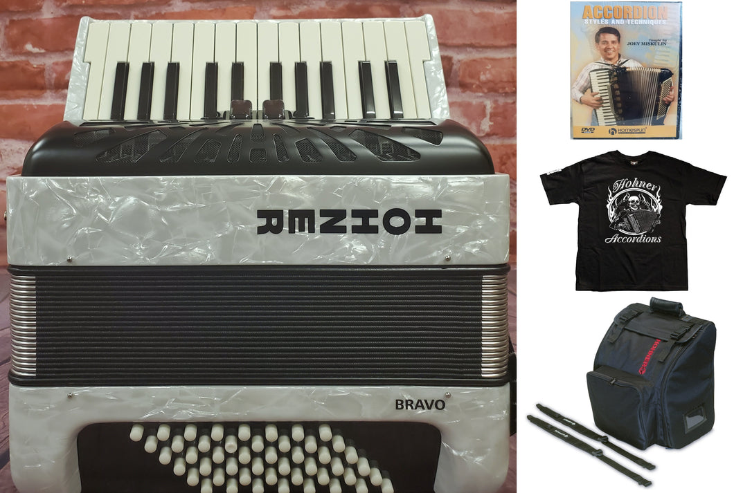 Hohner Bravo II 48 Bass White Piano Accordion Acordeon +Bag, Straps, Shirt, DVD - Authorized Dealer