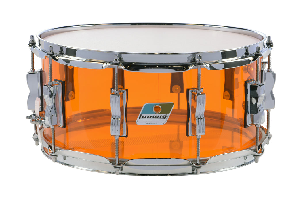 Ludwig Vistalite Amber 6.5x14 Zep Snare Drum with Bowtie Lugs | Made in USA | NEW Authorized Dealer