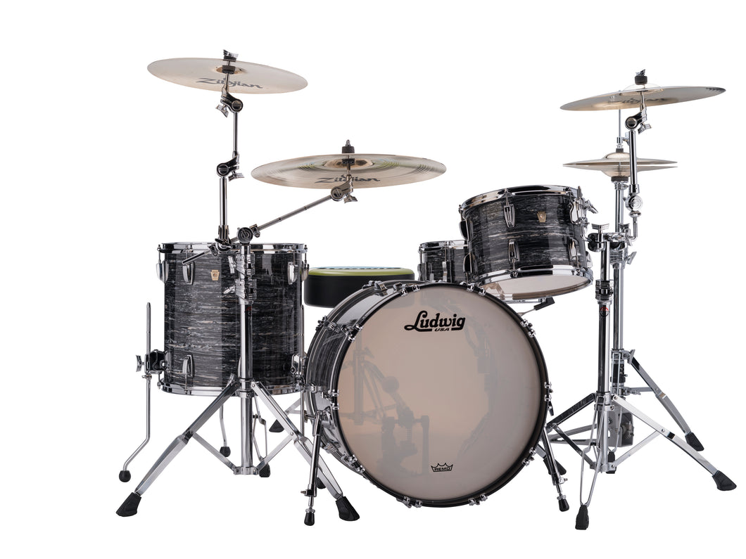 Ludwig Classic Maple Vintage Black Oyster Fab 14x22_9x13_16x16 Custom Kit Drum Set Authorized Dealer