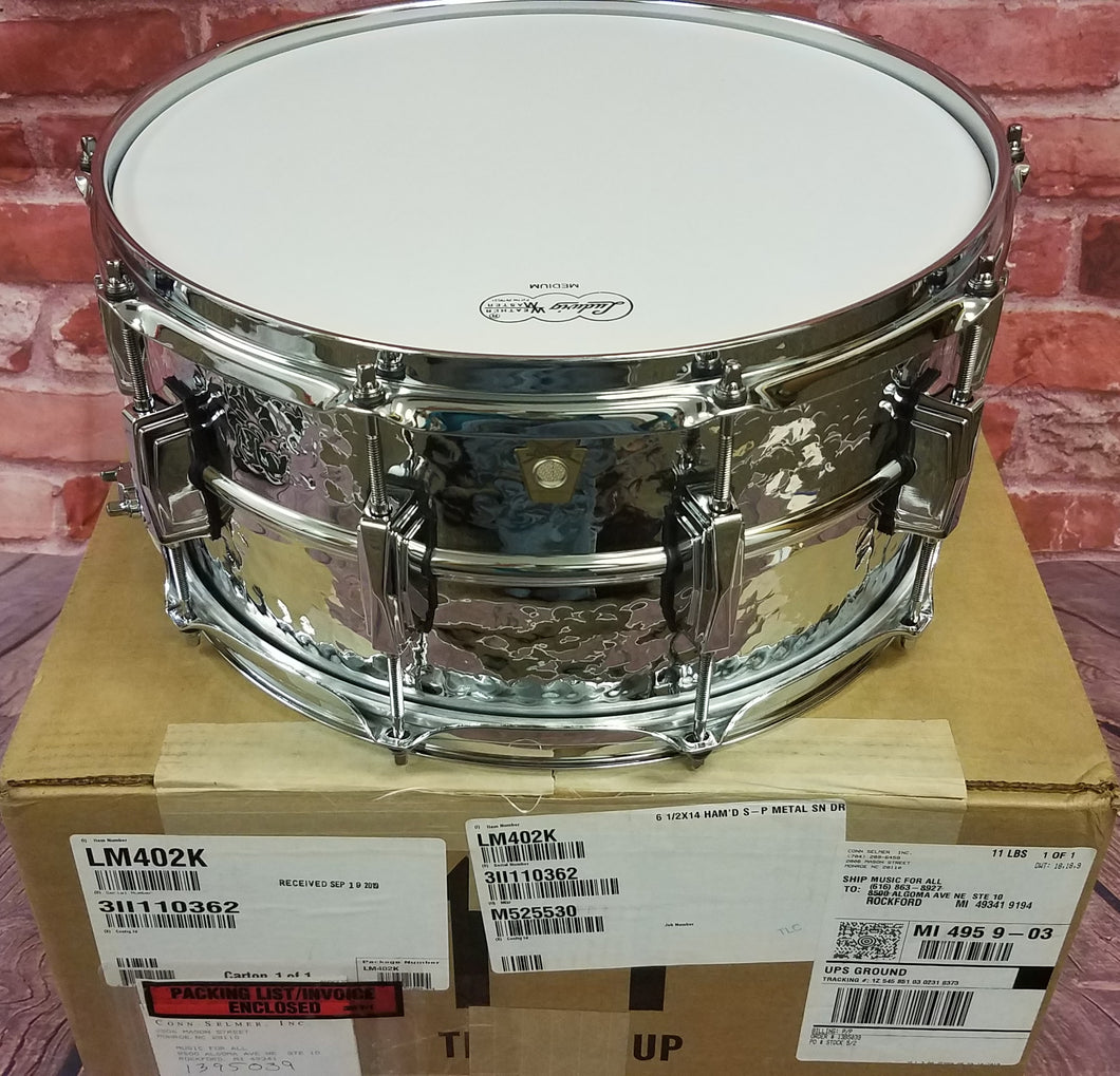 Ludwig LM402K Supraphonic 6.5x14 Hammered Chrome Imperial Lugs Kit  Snare Drum NEW Authorized Dealer