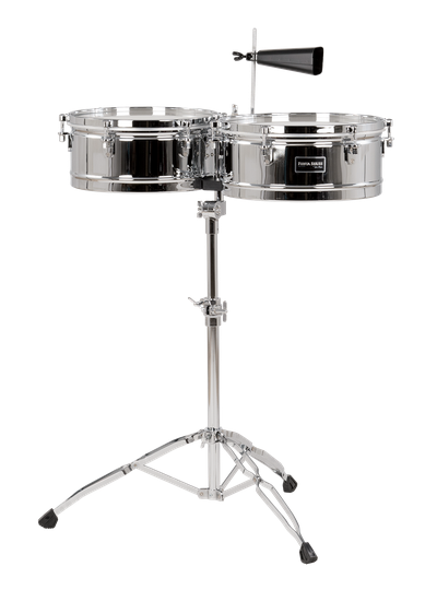 Gon Bops 13″/14″ Timbale Set w/Lightweight Tilting Stand Chrome Top-Tuning | NEW Authorized Dealer