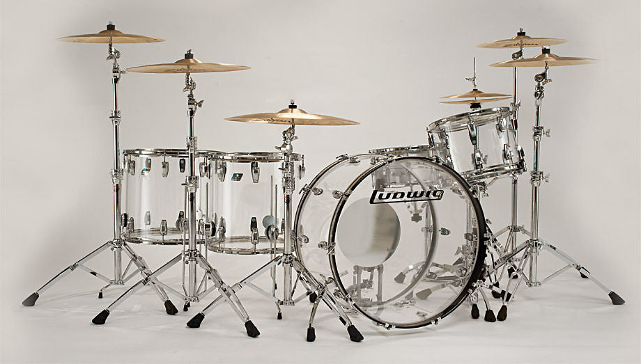 Ludwig Vistalite Clear ZEP SET 14x26/16x18/16x16/10x14/6.5x14 Drums Kit Shell Pack Authorized Dealer