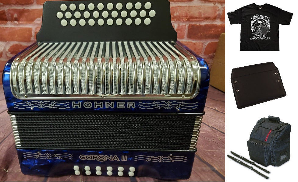 Hohner Corona II FBbEb/FBE/FA Blue Accordion Acordeon +GigBag,Straps,Shirt,Backpad Authorized Dealer