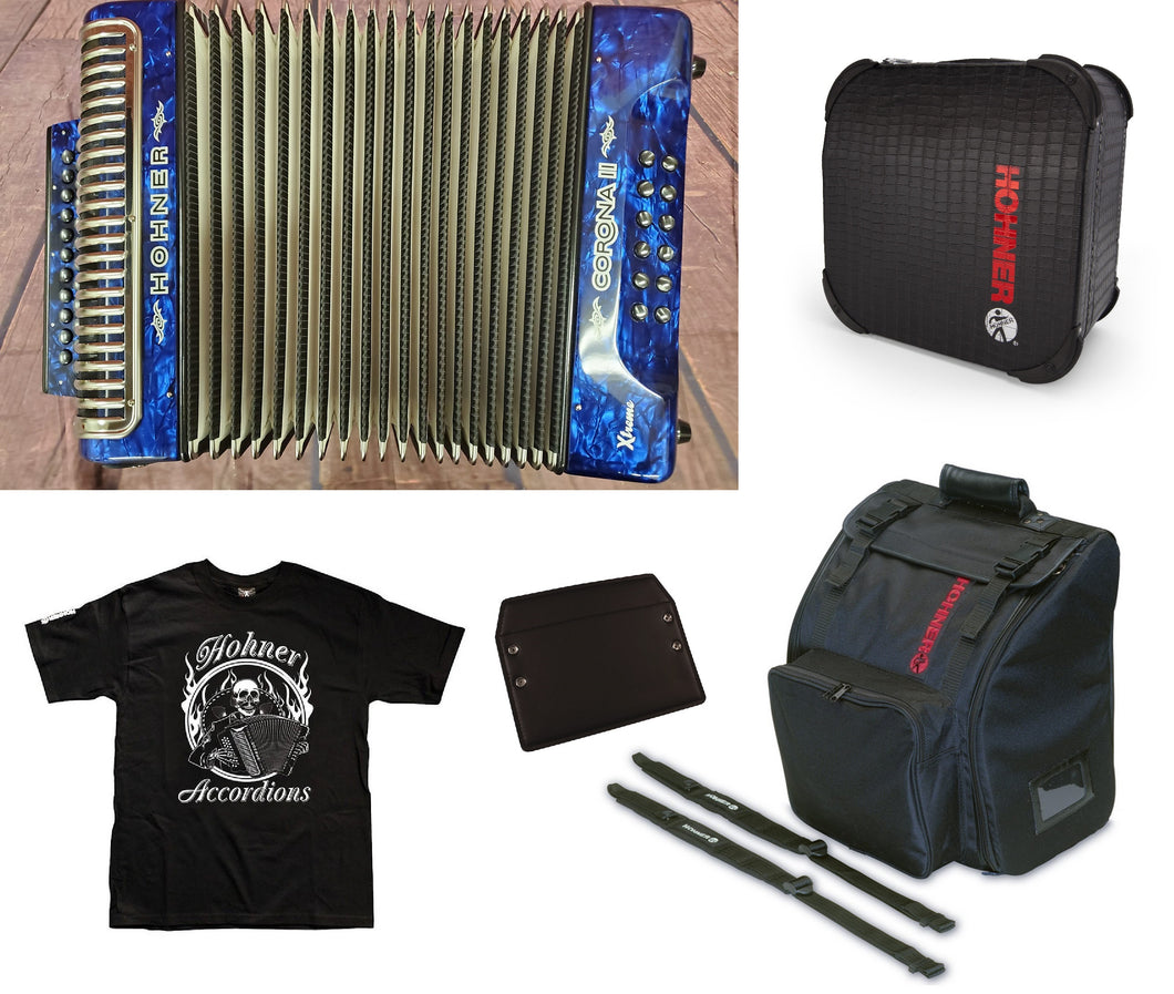 Hohner Xtreme Corona II FBE/FBbEb/Fa Blue Azul Accordion Acordeon +Case/Bag/Straps/T-Shirt | Dealer