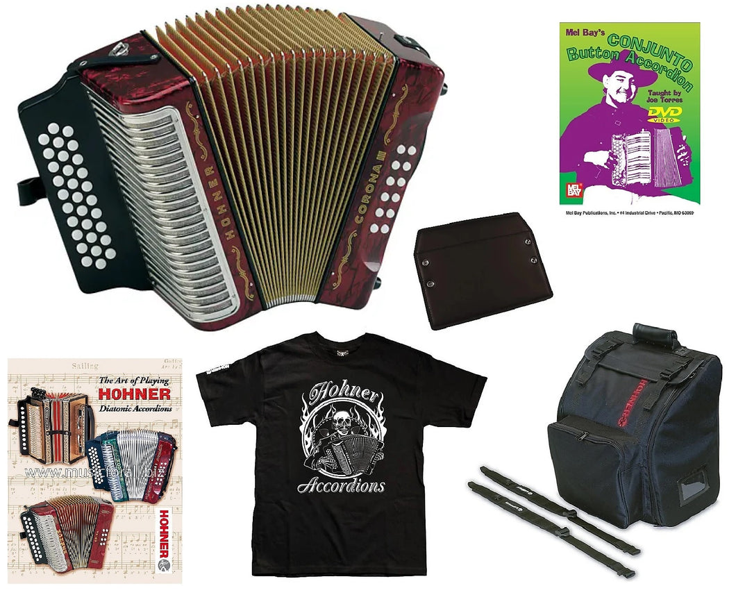 Hohner Corona III GCF/Sol Red/Rojo Accordion Acordeon +Bag/Strap/BackPad/Shirt/DVD Authorized Dealer