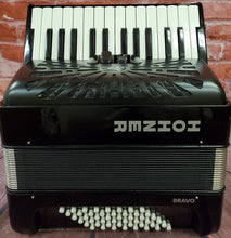 Load image into Gallery viewer, Used Hohner Bravo II 48 Bass Black Piano Accordion Acordeon +Gig Bag, Straps, Shirt, Instruction DVD