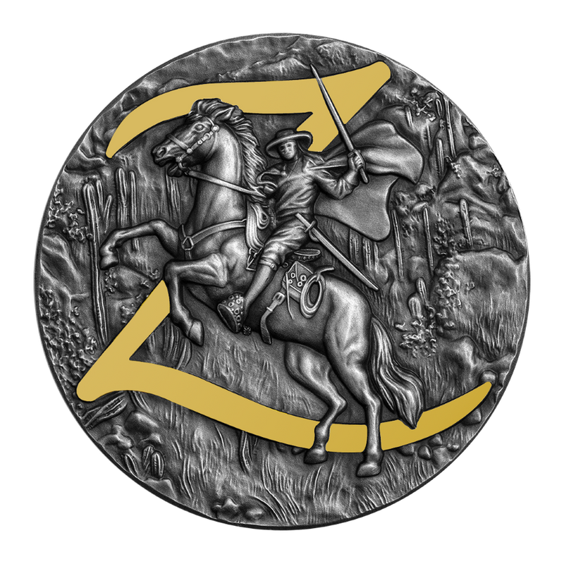 2021 Niue $5 Zorro 2 oz Silver Coin Antiqued w/Gold Gilding - 500 Made