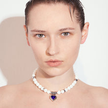 Load image into Gallery viewer, Heart Shaped Gem Pendant White Jade Necklace