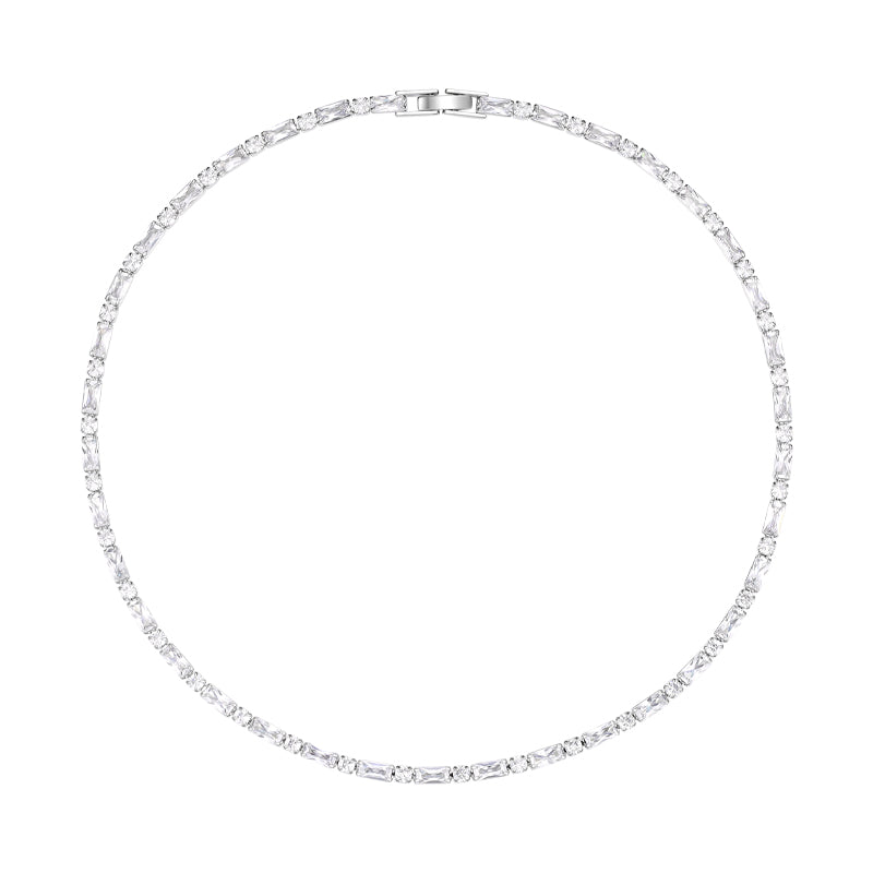 Square Round Crystal Diamond Necklace