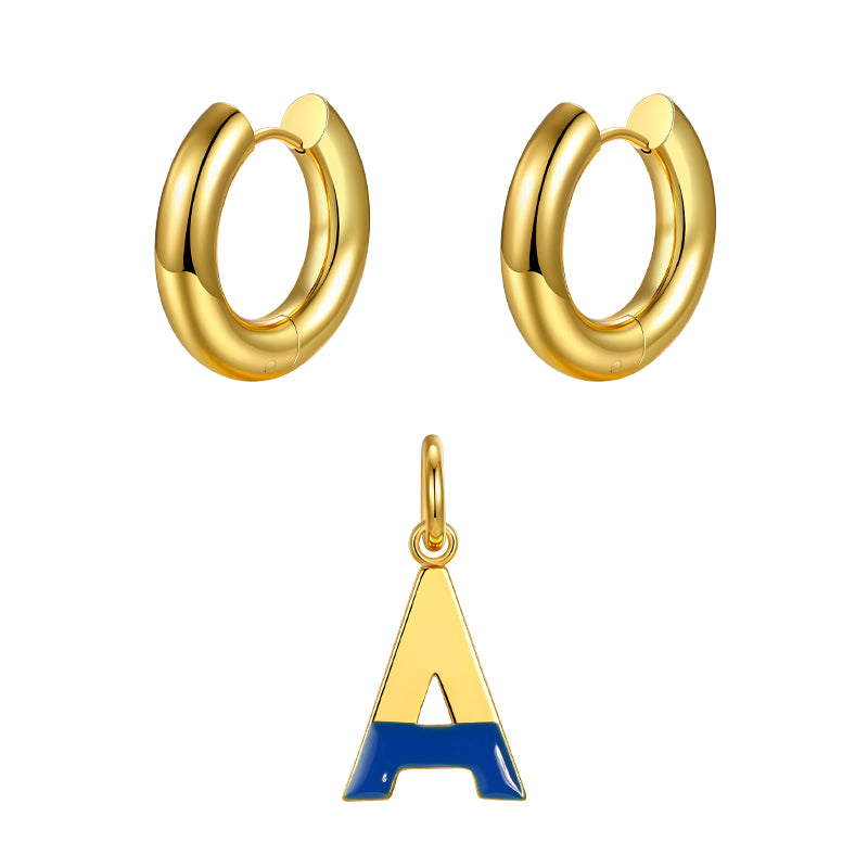 Round ear buckle and drip glaze letter pendant golden set