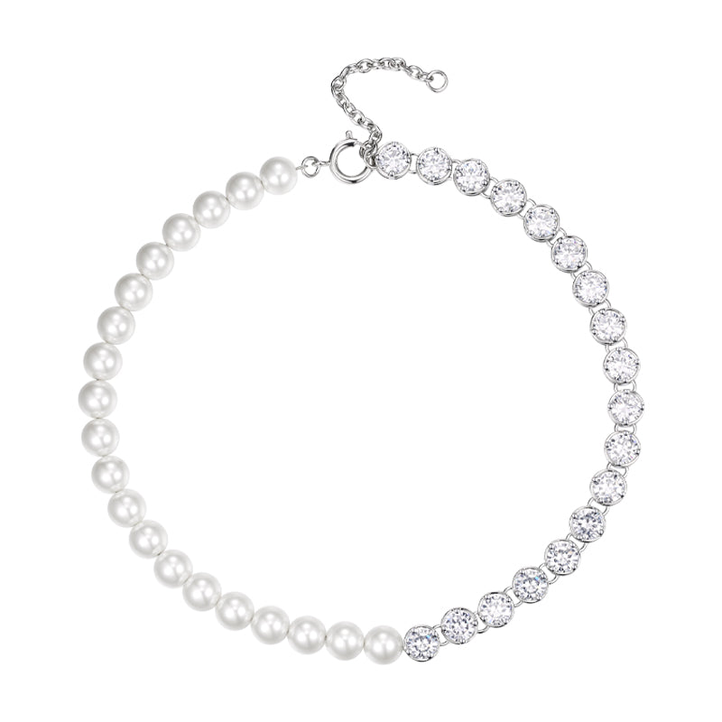 Pearl large round diamond necklace
