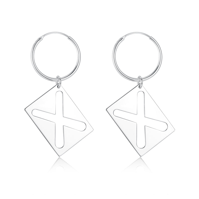 X hollow square earrings