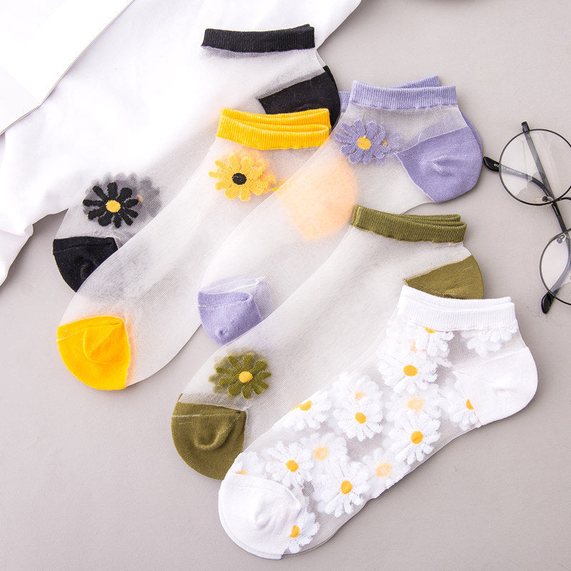 Cute Translucent Daisy Socks