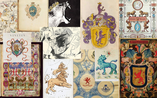 Inspiration images of lions in art, traditional heraldry and astrology
