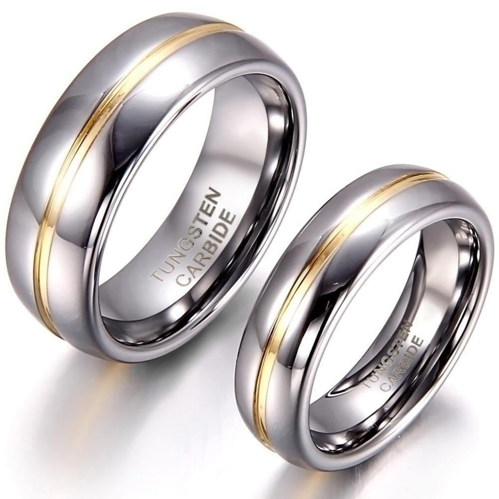 Silver and Gold Stripe Tungsten Ring - Kingsnqueenz