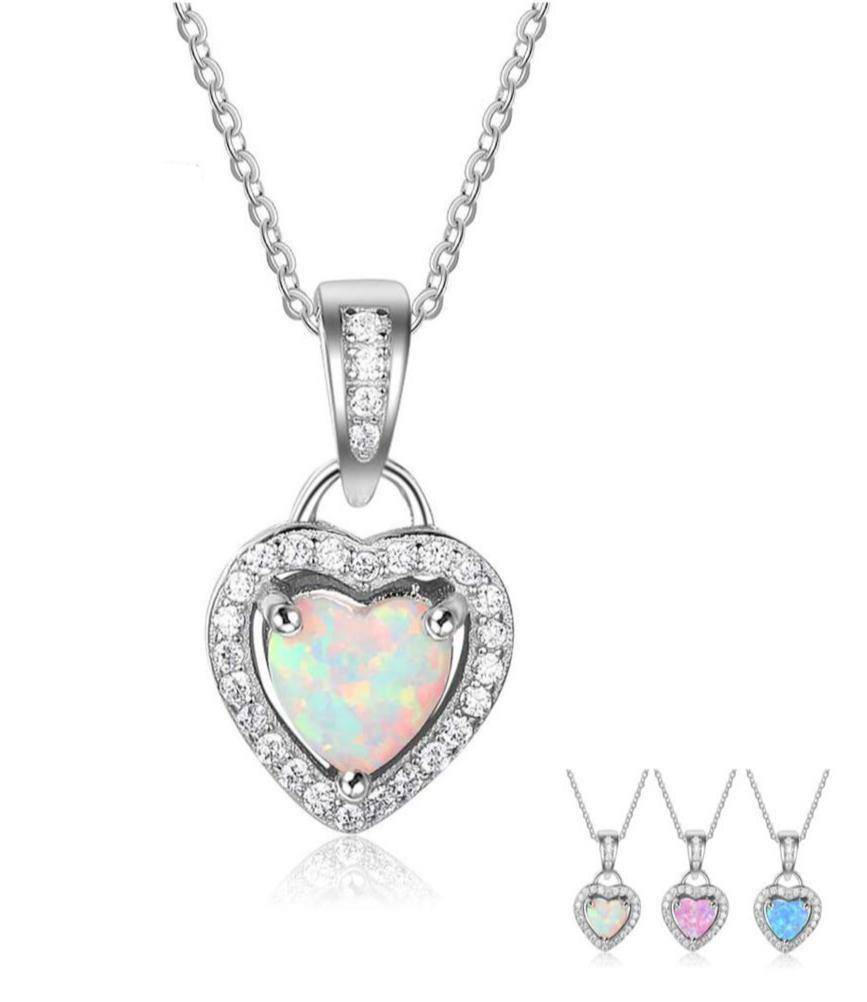 Sterling Silver Heart Shape Opal Necklace - Kingsnqueenz