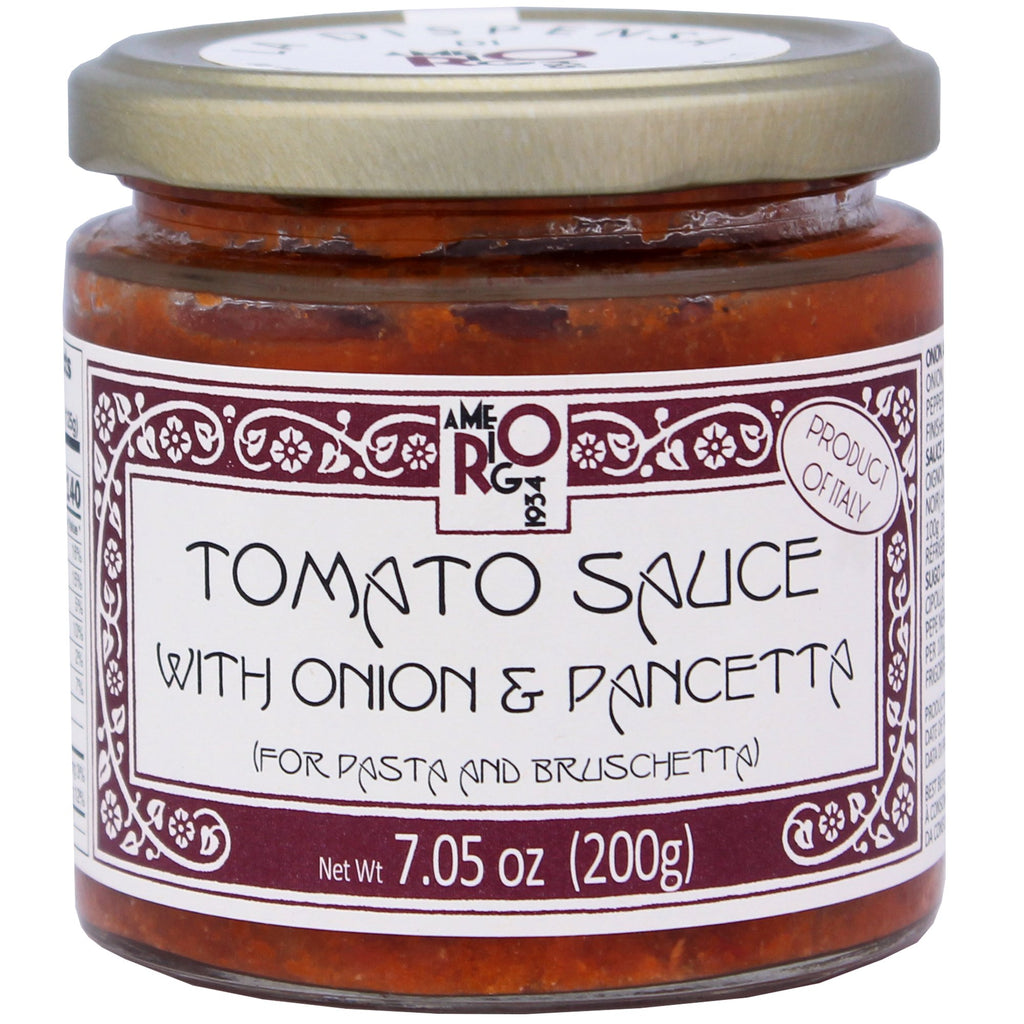 Tomato Sauce with Onion & Pancetta by Amerigo 1934, Glass Jar, Made in Italy.
