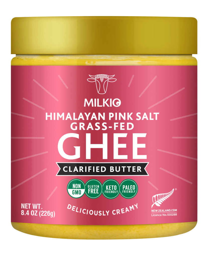 Culutred Himalayan Pink Salt Grass-fed Ghee Clarified Butter by Milkio Foods, Non GMO, Gluten Free, Keto Friendly, Paleo Friendly, Made in New Zealand