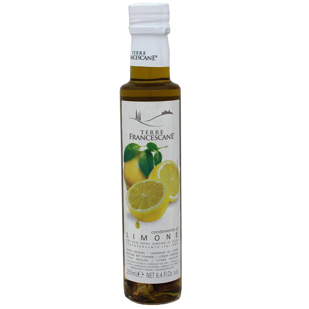 Lemon Flavored Olive Oil by terre Francescane, Glass Bottle, Made in Italy
