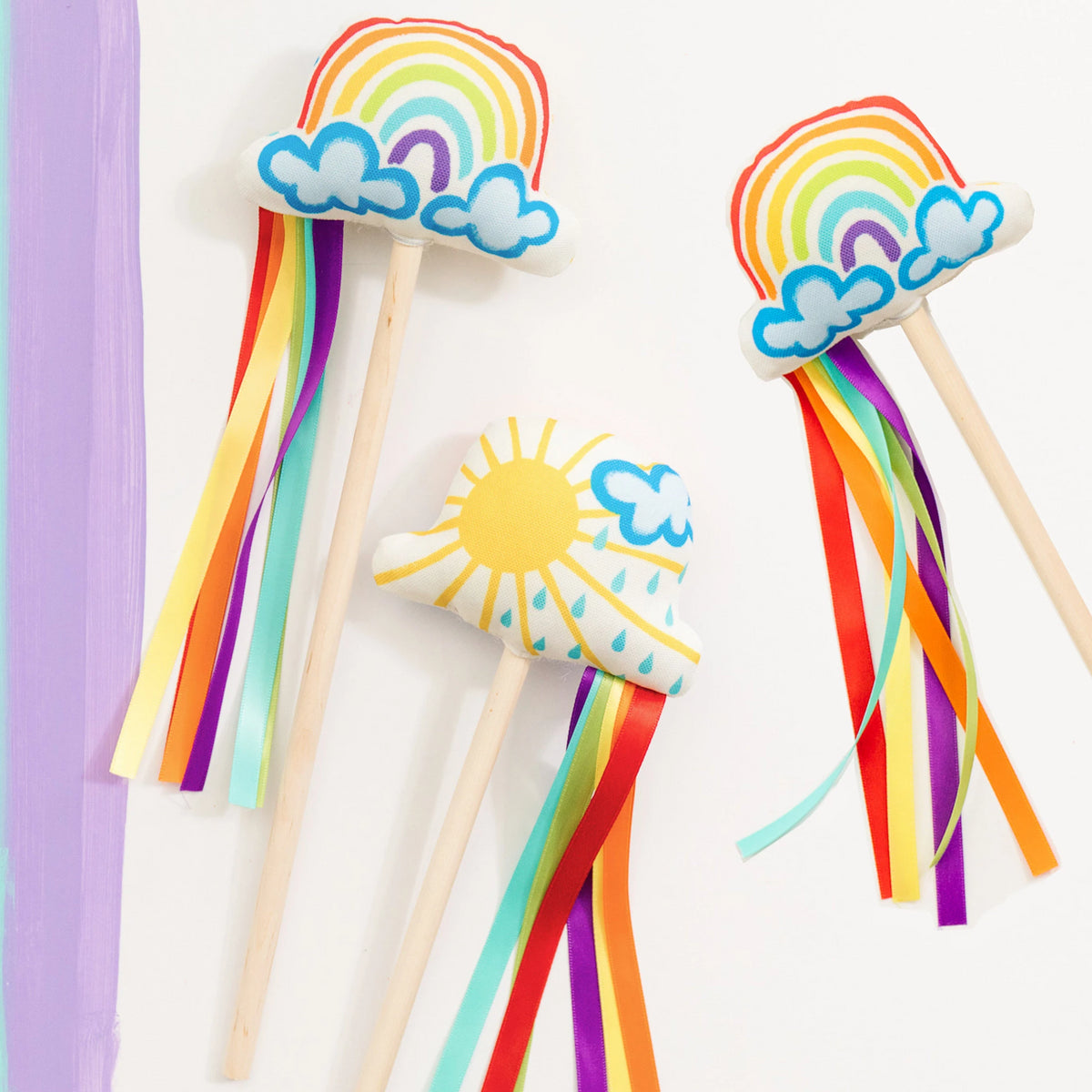 Set of 3 Rainbow Wands, Rainbow Birthday Party, Rainbow Party Favors, Toddler Magic Wand, Rainbow Dress Up Costume, Rainbow Gift