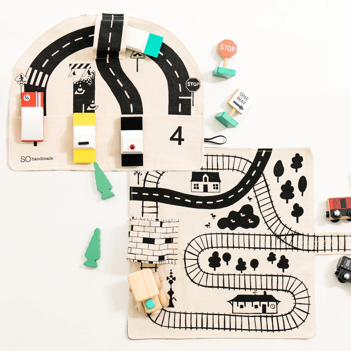 Train and Car Playmat Gift Set, train gifts for toddlers, organic gift set for kids, stocking stuffers for kids, birthday gifts for kids,