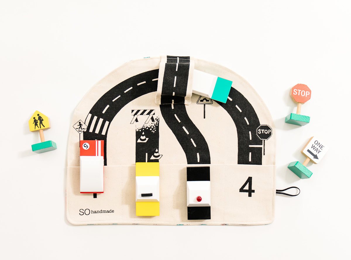 Car Playmat & 4 Rolls of Road and Train Tape, Toddler Gift Set, Car Gift for Toddler, Toddler Stocking Stuffer, Toddler Christmas Gift