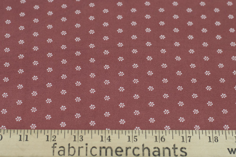Double Brushed Ditsy Floral Marsala 5 YARDS