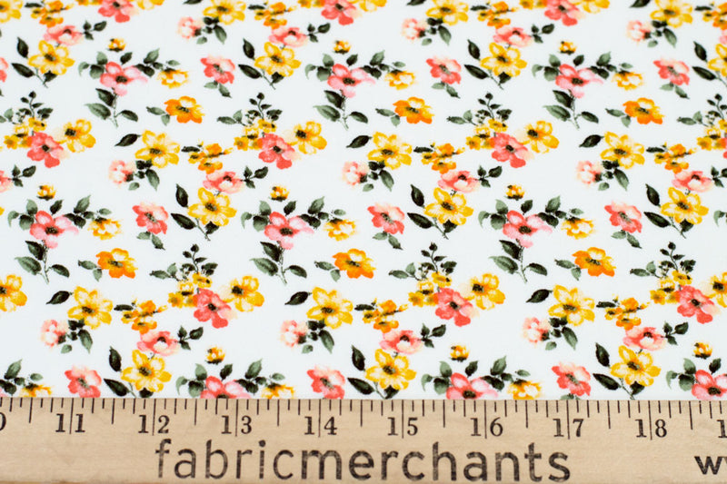 Double Brushed Floral White/Yellow 5 YARDS