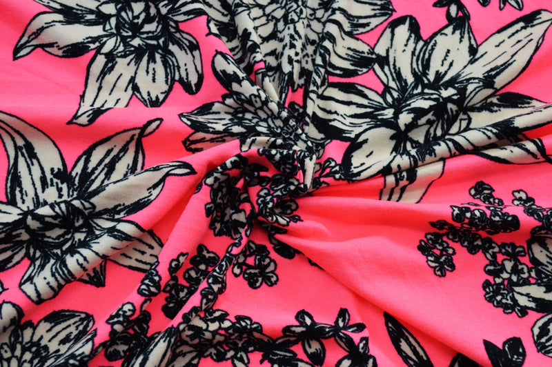 Double Brushed Floral Neon Pink 5 YARDS
