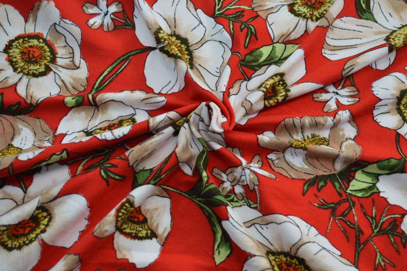 Double Brushed Open Floral on Crimson 5 YARDS