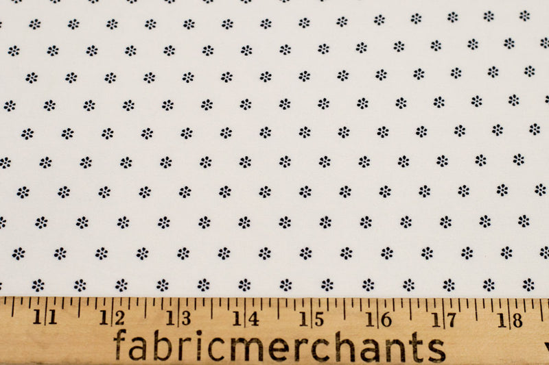 Double Brushed Ditsy Floral White/Black 5 YARDS
