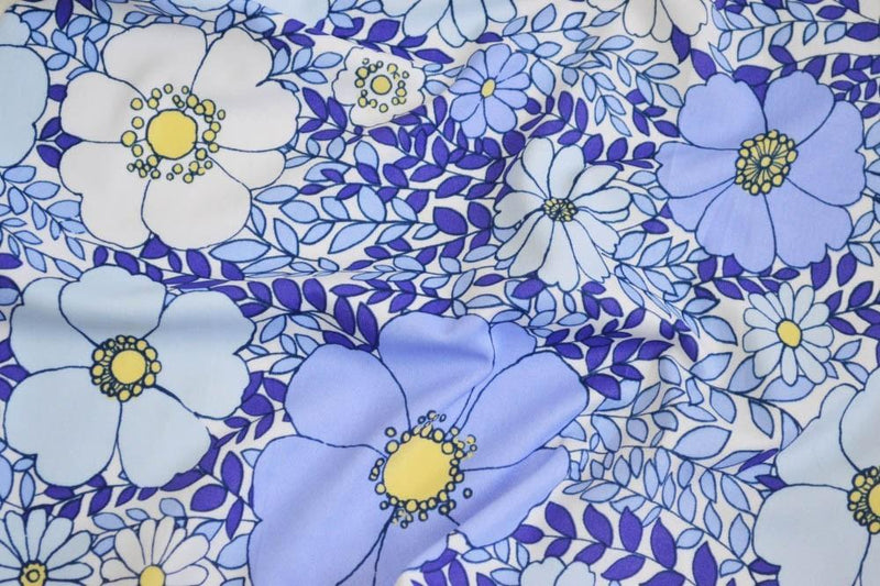 Nylon Spandex Allover Floral Blue 5 YARDS