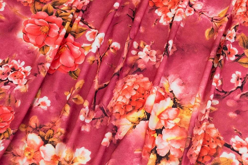 Double Brushed Floral Garden Berry  3 YARDS, 5 YARDS