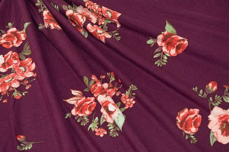Double Brushed Floral Maroon/Red/Coral 5 YARDS