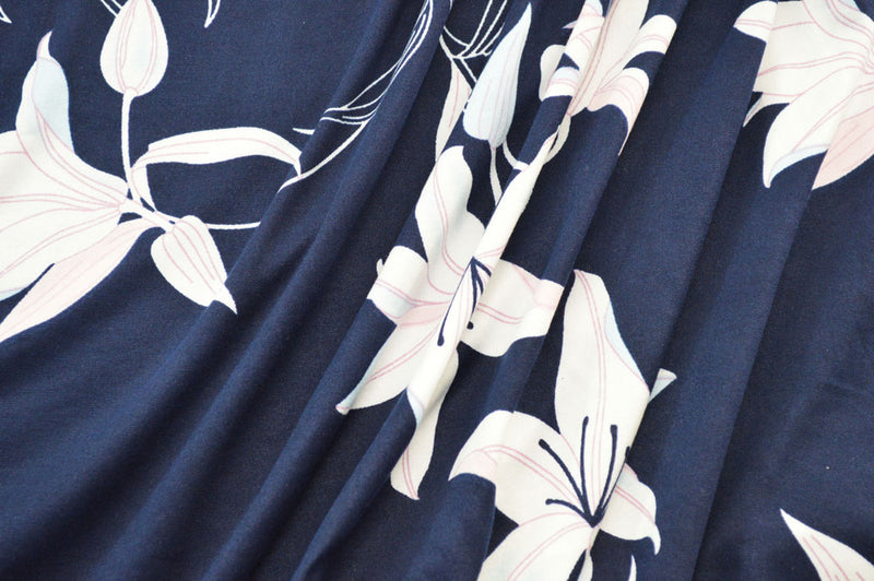 Double Brushed Floral Navy/White 5 YARDS