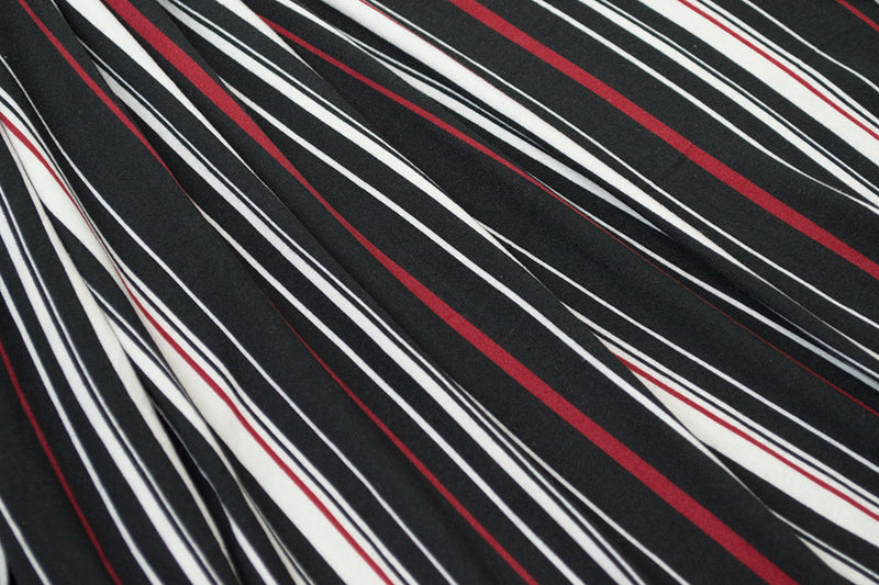 Double Brushed Stripe Black/Red 5 YARDS