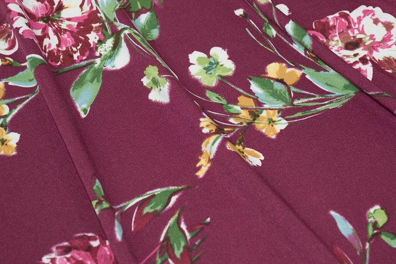 ITY Floral Wine/Mustard 5 YARDS
