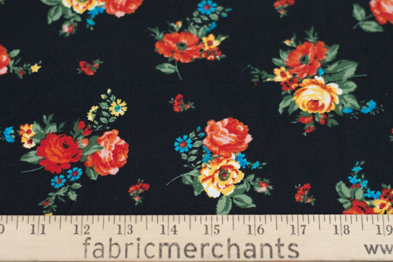 Double Brushed Floral Black/Red 5 YARDS