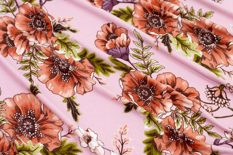 Double Brushed Floral Pink/Coral/Mauve 3 YARDS
