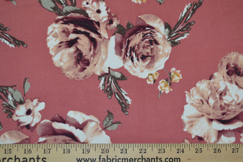 Double Brushed Floral Mauve 5 YARDS